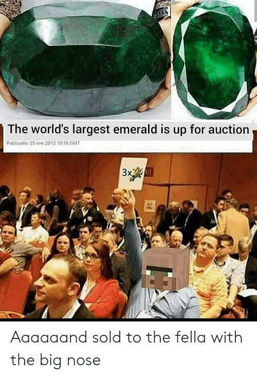 Reddit, Fella, and Big Nose: The world's largest emerald is up for auction  Publicado: 25 ene 2012 19:18 GMT  3x Aaaaaand sold to the fella with the big nose