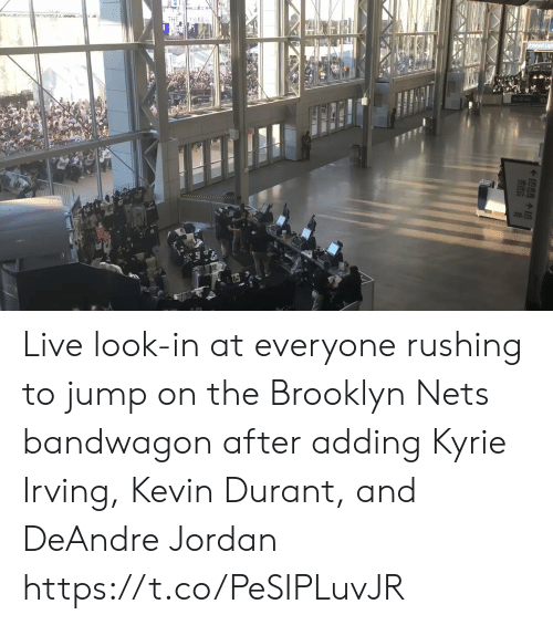 Brooklyn: THE Y SEEn  126-129  226-23  327-330  220 Live look-in at everyone rushing to jump on the Brooklyn Nets bandwagon  after adding Kyrie Irving, Kevin Durant, and DeAndre Jordan https://t.co/PeSIPLuvJR