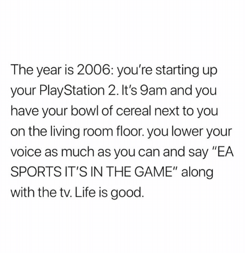 "Life, Nfl, and PlayStation: The year is 2006: you're starting up  your PlayStation 2. It's 9am and you  have your bowl of cereal next to you  on the living room floor. you lower your  voice as much as you can and say ""EA  SPORTS IT'S IN THE GAME"" along  with the tv. Life is good"