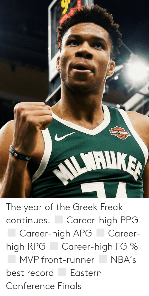 ppg: The year of the Greek Freak continues.  ◻️ Career-high PPG ◻️ Career-high APG ◻️ Career-high RPG ◻️ Career-high FG % ◻️ MVP front-runner ◻️ NBA's best record ◻️ Eastern Conference Finals