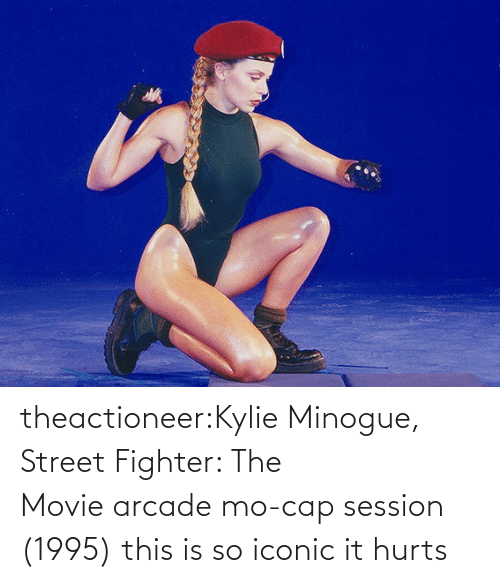 Movie: theactioneer:Kylie Minogue, Street Fighter: The Movie arcade mo-cap session (1995) this is so iconic it hurts