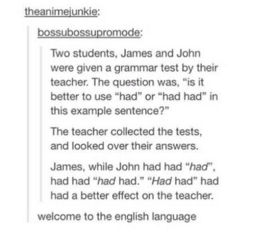 "answers: theanimejunkie:  bossubossupromode:  Two students, James and John  were given a grammar test by their  teacher. The question was, ""is it  better to use ""had"" or ""had had"" in  this example sentence?""  The teacher collected the tests,  and looked over their answers.  James, while John had had ""had"",  had had ""had had."" ""Had had"" had  had a better effect on the teacher.  welcome to the english language"