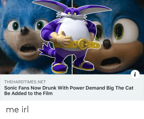 Drunk, Power, and Sonic: THEHARDTIMES.NET  Sonic Fans Now Drunk With Power Demand Big The Cat  Be Added to the Film me irl