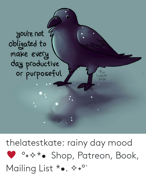 M 1: thelatestkate:  rainy day mood ♥  °˖✧*•  Shop, Patreon, Book, Mailing List *•. ✧˖°`