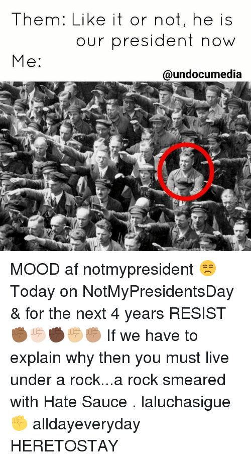President Now: Them: Like it or not, he is  our president now  Me  @undocumedia MOOD af notmypresident 😒 Today on NotMyPresidentsDay & for the next 4 years RESIST ✊🏾✊🏻✊🏿✊🏼✊🏽 If we have to explain why then you must live under a rock...a rock smeared with Hate Sauce . laluchasigue ✊ alldayeveryday HERETOSTAY
