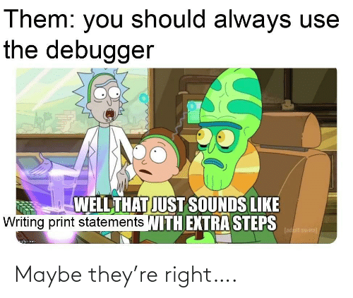 writing: Them: you should always use  the debugger  WELL THAT JUST SOUNDS LIKE  Writing print statements WITH EXTRA STEPS  [adult swim)  ngfip.com Maybe they're right….