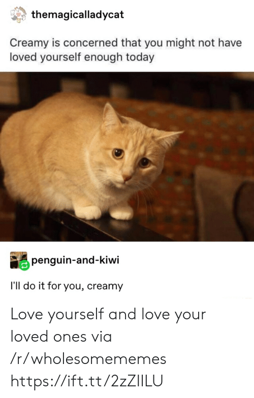Love, Penguin, and Today: themagicalladycat  Creamy is concerned that you might not have  loved yourself enough today  penguin-and-kiwi  I'll do it for you, creamy Love yourself and love your loved ones via /r/wholesomememes https://ift.tt/2zZIILU