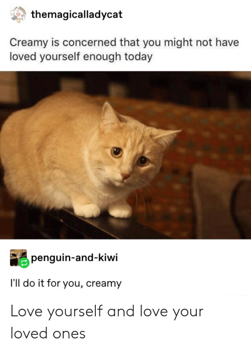 kiwi: themagicalladycat  Creamy is concerned that you might not have  loved yourself enough today  penguin-and-kiwi  I'll do it for you, creamy Love yourself and love your loved ones