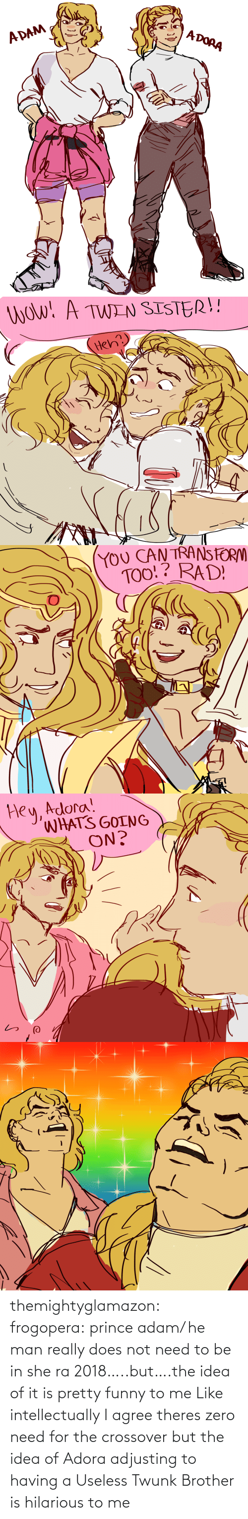 Funny, Prince, and Tumblr: themightyglamazon: frogopera: prince adam/ he man really does not need to be in she ra 2018…..but….the idea of it is pretty funny to me   Like intellectually I agree theres zero need for the crossover but the idea of Adora adjusting to having a Useless Twunk Brother is hilarious to me