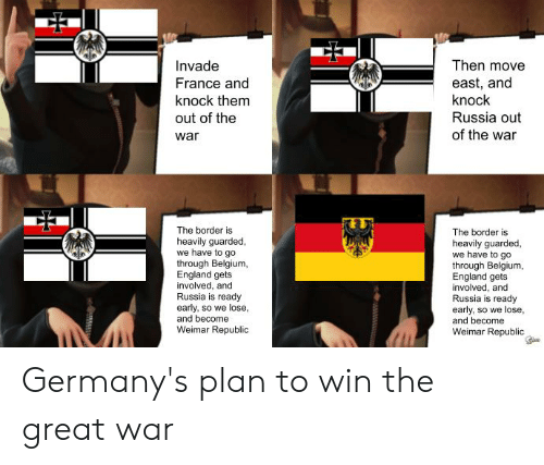 Belgium, England, and France: Then move  Invade  France and  knock them  out of the  east, and  knock  Russia out  of the war  war  The border is  The border is  heavily guarded,  we have to go  through Belgium,  England gets  involved, and  Russia is ready  early, so we lose,  and become  heavily guarded,  we have to go  through Belgium,  England gets  involved, and  Russia is ready  early, so we lose,  and become  Weimar Republic  Weimar Republic Germany's plan to win the great war