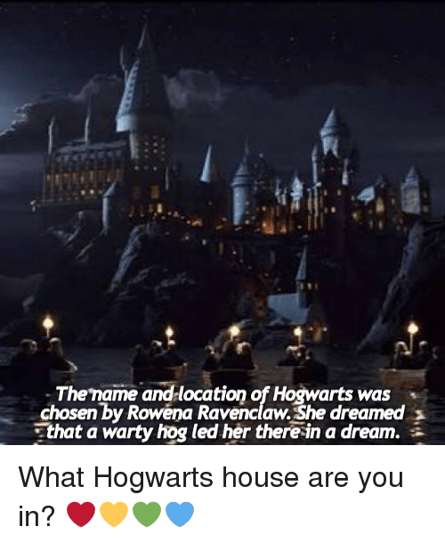 hogwarts houses: Thename and location of Hogwarts was  chosen by Rowena Ravenclaw. She dreamed  that a warty hog led her there in a dream. What Hogwarts house are you in? ❤️💛💚💙