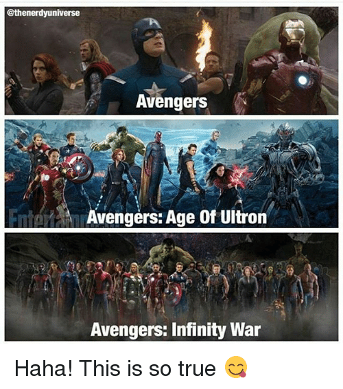 avengers age of ultron: @thenerdyuniverse  Avengers  Avengers: Age of Ultron  Avengers: Infinity War Haha! This is so true 😋
