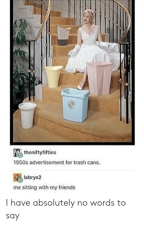 Friends, Trash, and Words: theniftyfifties  1950s advertisement for trash cans.  labrys2  me sitting with my friends I have absolutely no words to say