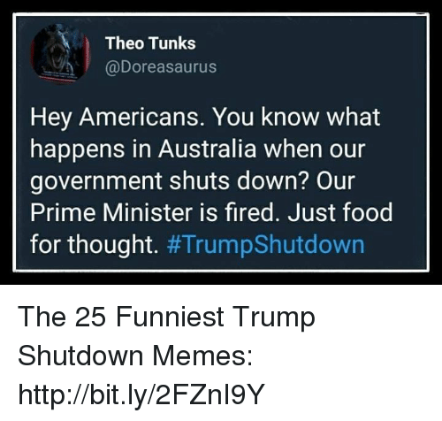 theo: Theo Tunks  @Doreasaurus  Hey Americans. You know what  happens in Australia when our  government shuts down? Our  Prime Minister is fired. Just food  for thought. The 25 Funniest Trump Shutdown Memes: http://bit.ly/2FZnI9Y