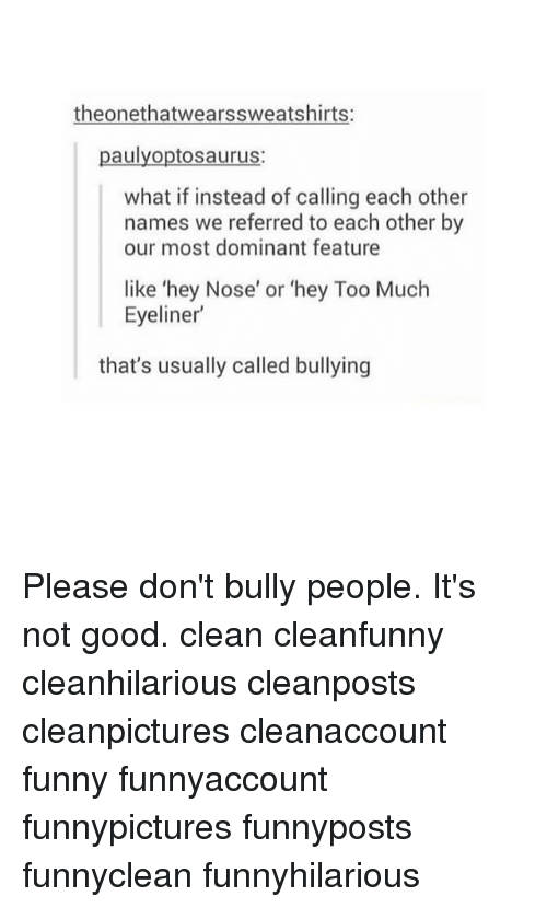 Funny, Memes, and Too Much: theonethatwearssweatshirts:  paulyoptosaurus  what if instead of calling each other  names we referred to each other by  our most dominant feature  like 'hey Nose' or 'hey Too Much  Eyeliner  that's usually called bullying Please don't bully people. It's not good. clean cleanfunny cleanhilarious cleanposts cleanpictures cleanaccount funny funnyaccount funnypictures funnyposts funnyclean funnyhilarious