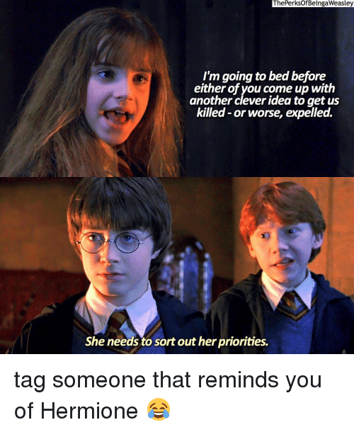 expelled: ThePerksOf BeingaWeasley  I'm going to bed before  either of you come up with  another clever idea to get us  killed or worse, expelled.  She needs to sort out her priorities. tag someone that reminds you of Hermione 😂