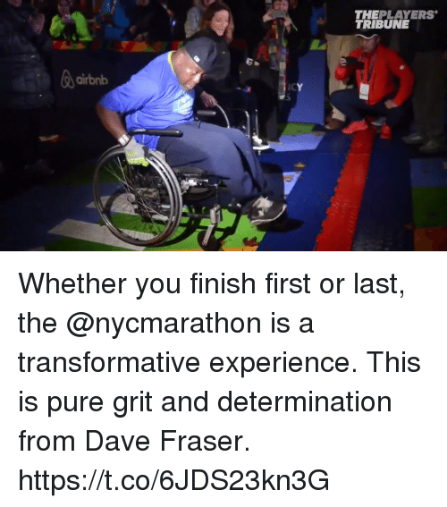 Memes, Airbnb, and Experience: THEPLAYERS  TRIBUNE  airbnb  ICY Whether you finish first or last, the @nycmarathon is a transformative experience.  This is pure grit and determination from Dave Fraser. https://t.co/6JDS23kn3G