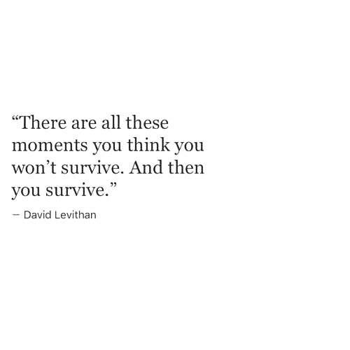 """David Levithan, Think, and All: """"There are all these  moments you think you  won't survive. And then  you survive  David Levithan"""