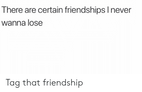Funny, Friendship, and Lose: There are certain friendshipslnever  Wanna lose Tag that friendship