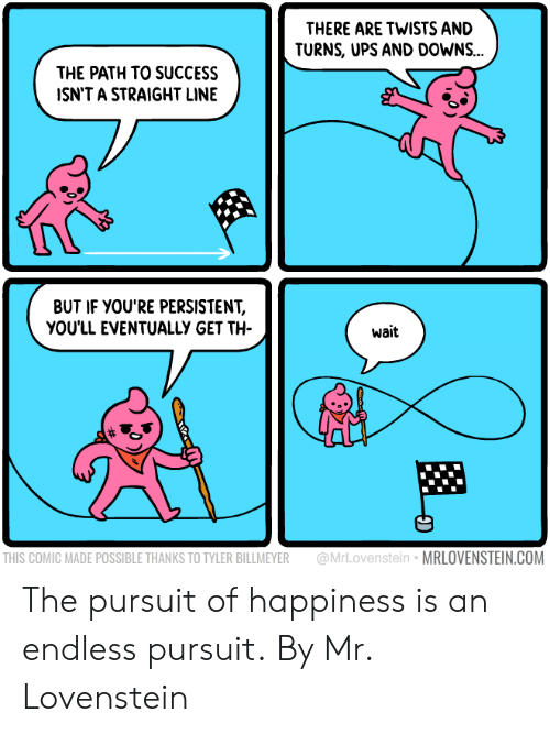 twists: THERE ARE TWISTS AND  TURNS, UPS AND DOWNS...  THE PATH TO SUCCESS  ISN'T A STRAIGHT LINE  BUT IF YOU'RE PERSISTENT,  YOU'LL EVENTUALLY GET TH  wait  THIS COMIC MADE POSSIBLE THANKS TO TYLER BILLMEYER @MrLovenstein MRLOVENSTEIN.COM The pursuit of happiness is an endless pursuit.  By Mr. Lovenstein