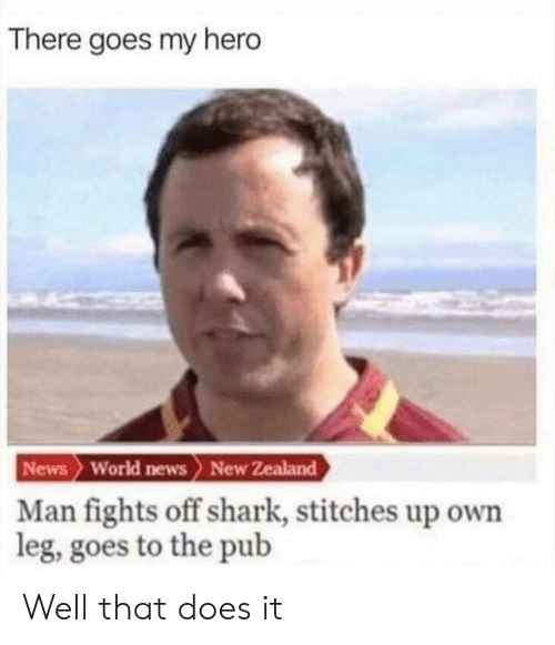 News, Stitches, and Shark: There goes my hero  News World news> New Zealand  Man fights off shark, stitches up own  leg, goes to the pub Well that does it