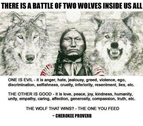 wns: THERE IS A BATTLE OF TWO WOLVES INSIDE US ALL  ONE IS EVIL it is anger, hate, jealousy, greed, violence, ego,  discrimination, selfishness, cruelty, inferiority, resentment, lies, etc.  THE OTHER IS GOOD it is love, peace, joy, kindness, humanity,  unity, empathy, caring, affection, generosity, compassion, truth, etc.  THE WOLF THAT WNS? THE ONE YOU FEED  CHEROKEE PROVERB
