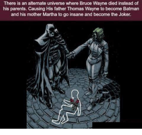thomas wayne: There is an alternate universe where Bruce Wayne died instead of  his parents. Causing His father Thomas Wayne to become Batman  and his mother Martha to go insane and become the Joker.
