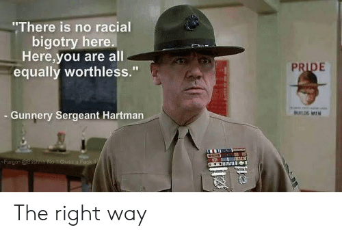 """Bigotry: """"There is no racial  bigotry here.  Here,you are all  equally worthless.""""  PRIDE  Gunnery Sergeant Hartman  UL MIN  Fargo @ssehh No 1 Givos a Fuck W The right way"""