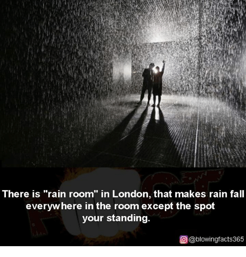 """Exceptation: There is """"rain room"""" in London, that makes rain fall  everyw here in the room except the spot  your standing.  ρ@blowingfacts365"""