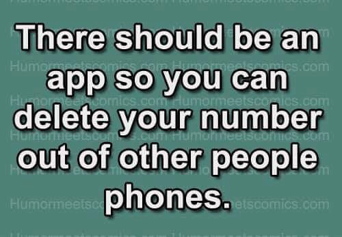 Memes, 🤖, and Com: There should be an  app so you can  delete your number  out of other people  phones  Hu  com  Humorme  etscomics.com