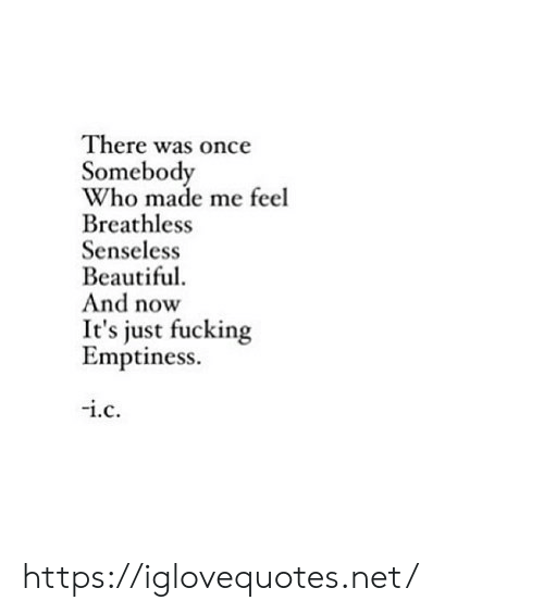 Who Made: There was once  Somebody  Who made me feel  Breathless  Senseless  Beautiful  And now  just fucking  Emptiness.  i.c https://iglovequotes.net/