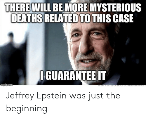 deaths: THERE WILL BE MORE MYSTERIOUS  DEATHS RELATED TO THIS CASE  IGUARANTEE IT  imgflip.com  FROM: YOUTUBE.COM70SER/HENSWEARHOUSE Jeffrey Epstein was just the beginning