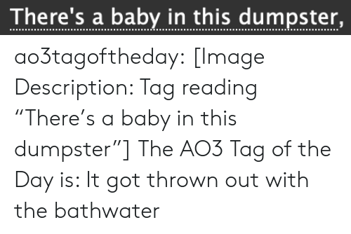 "Target, Tumblr, and Blog: There's a baby in this dumpster, ao3tagoftheday:  [Image Description: Tag reading ""There's a baby in this dumpster""]  The AO3 Tag of the Day is: It got thrown out with the bathwater"