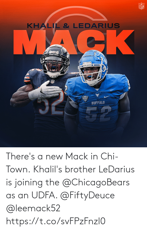 town: There's a new Mack in Chi-Town.  Khalil's brother LeDarius is joining the @ChicagoBears as an UDFA. @FiftyDeuce @leemack52 https://t.co/svFPzFnzl0
