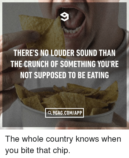Dank, Chip, and 🤖: THERE'S NO LOUDER SOUND THAN  THE CRUNCH OF SOMETHING YOU'RE  NOT SUPPOSED TO BE EATING  E9GAG COM/APP] The whole country knows when you bite that chip.