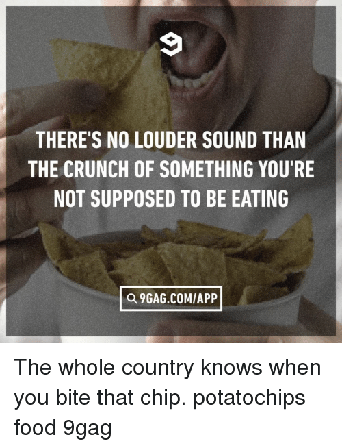 9gag, Food, and Memes: THERE'S NO LOUDER SOUND THAN  THE CRUNCH OF SOMETHING YOU'RE  NOT SUPPOSED TO BE EATING  Q 9GAG.COMIAPP The whole country knows when you bite that chip.⠀ potatochips food 9gag