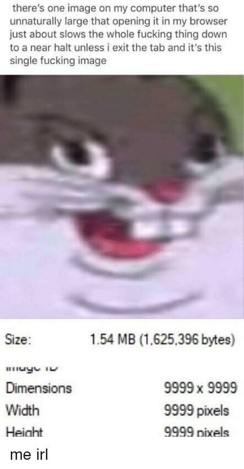Pixels: there's one image on my computer that's so  unnaturally large that opening it in my browser  just about slows the whole fucking thing down  to a near halt unless i exit the tab and it's this  single fucking image  Size:  1.54 MB (1.625,396 bytes)  Dimensions  Width  Height  9999 x 9999  9999 pixels  9999 pixels me irl