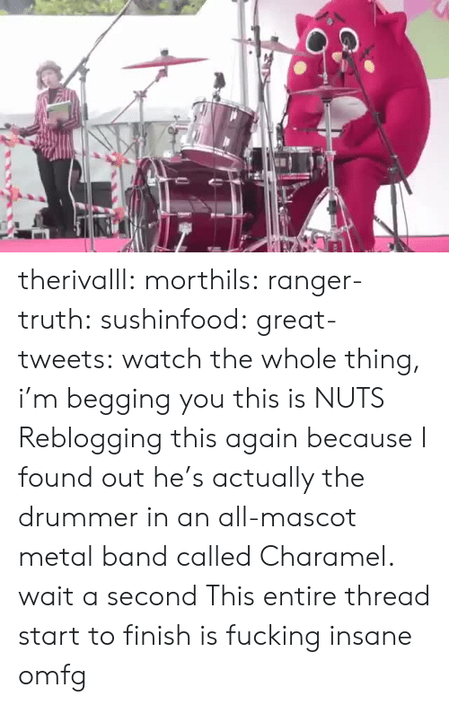 Fucking, Gif, and Tumblr: therivalll:  morthils:  ranger-truth:  sushinfood:  great-tweets:  watch the whole thing, i'm begging you  this is NUTS   Reblogging this again because I found out he's actually the drummer in an all-mascot metal band called Charamel.  wait a second   This entire thread start to finish is fucking insane omfg