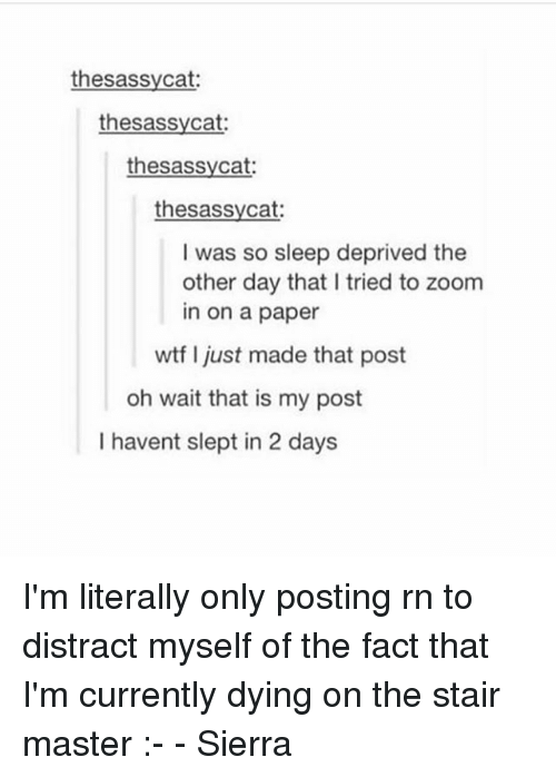 Zooming In: thesassycat  thesassycat:  thesassycat  thesassycat:  I was so sleep deprived the  other day that I tried to zoom  in on a paper  wtf I just made that post  oh wait that is my post  I havent slept in 2 days I'm literally only posting rn to distract myself of the fact that I'm currently dying on the stair master :- - Sierra
