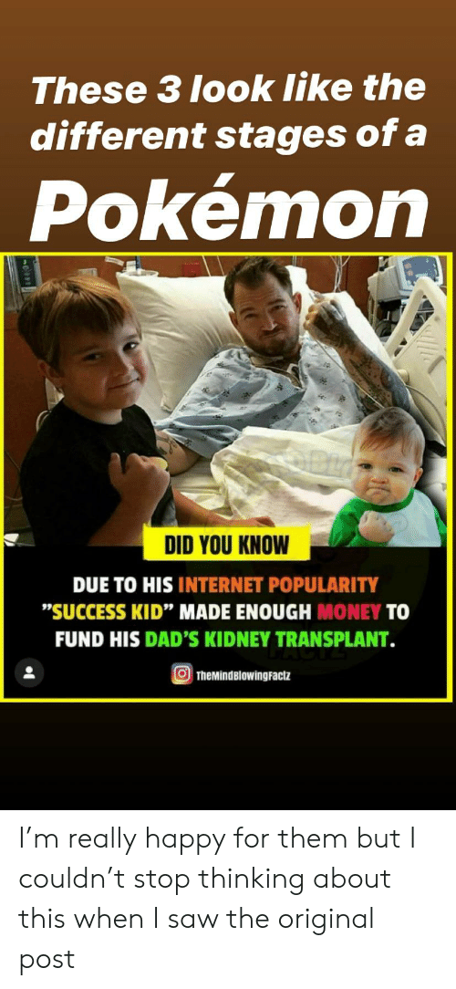 """kidney transplant: These 3 look like the  different stages of a  Pokémon  DID YOU KNOW  DUE TO HIS INTERNET POPULARITY  """"SUCCESS KID"""" MADE ENOUGH MONEY TO  FUND HIS DAD'S KIDNEY TRANSPLANT.  TheMindBlowingFactz I'm really happy for them but I couldn't stop thinking about this when I saw the original post"""