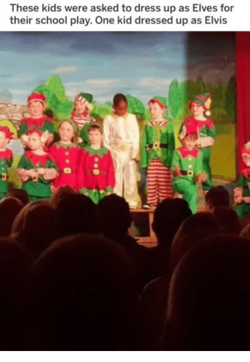 elves: These kids were asked to dress up as Elves for  their school play. One kid dressed up as Elvis
