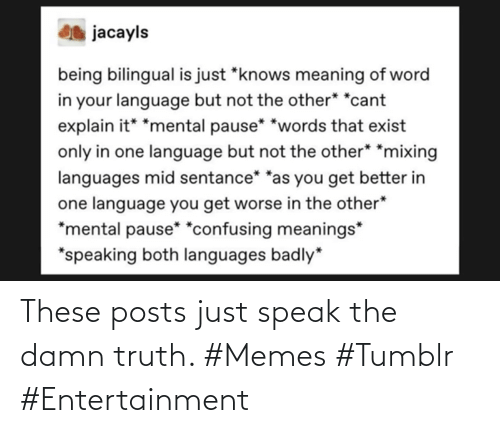Truth: These posts just speak the damn truth. #Memes #Tumblr #Entertainment