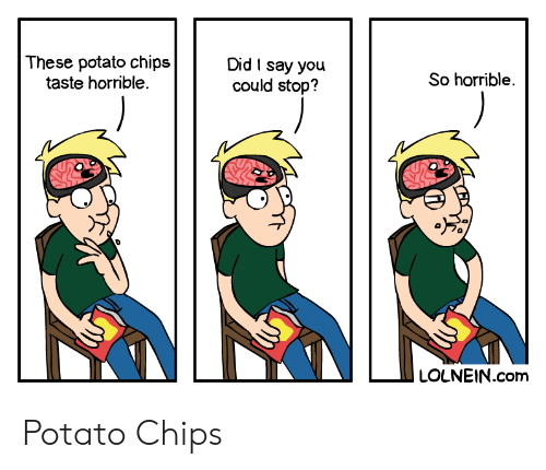 potato chips: These potato chips  taste horrible.  Did I say you  could stop?  So horrible  LOLNEIN.com Potato Chips