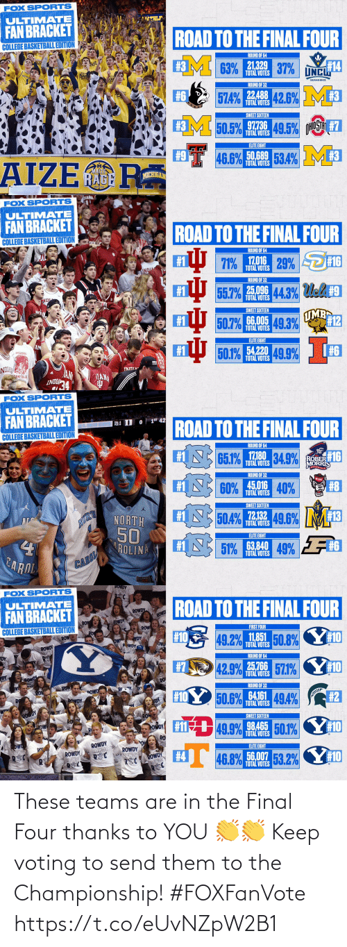 Championship: These teams are in the Final Four thanks to YOU 👏👏  Keep voting to send them to the Championship! #FOXFanVote https://t.co/eUvNZpW2B1