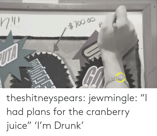 "I Had: theshitneyspears:  jewmingle:  ""I had plans for the cranberry juice""  'I'm Drunk'"