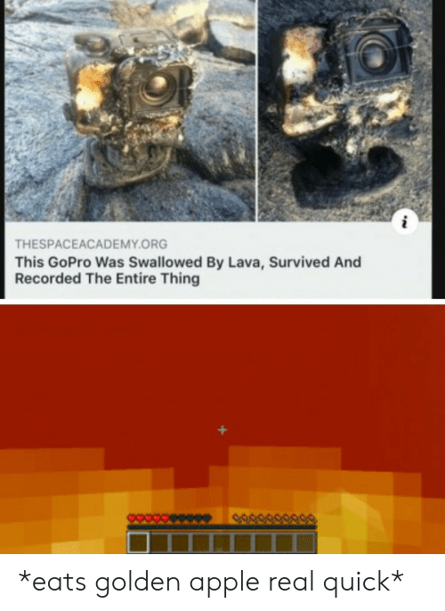 GoPro: THESPACEACADEMY.ORG  This GoPro Was Swallowed By Lava, Survived And  Recorded The Entire Thing *eats golden apple real quick*