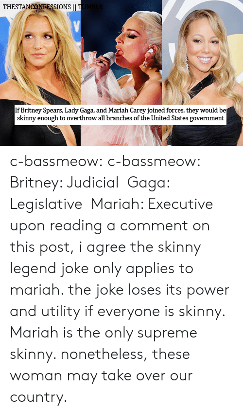 utility: THESTANCONRESSIONS|I  If Britney Spears, Lady Gaga, and Mariah Carey joined forces, they would be  skinny enough to overthrow all branches of the United States government c-bassmeow: c-bassmeow:  Britney: Judicial  Gaga: Legislative  Mariah: Executive   upon reading a comment on this post, i agree the skinny legend joke only applies to mariah. the joke loses its power and utility if everyone is skinny. Mariah is the only supreme skinny. nonetheless, these woman may take over our country.