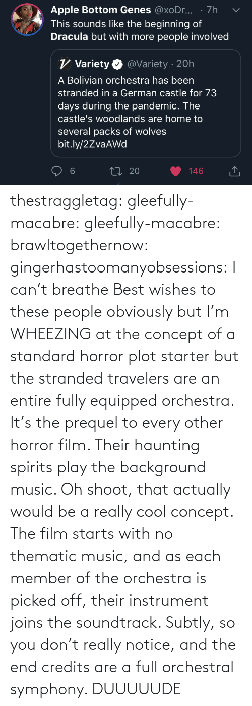 Are: thestraggletag:  gleefully-macabre:  gleefully-macabre:   brawltogethernow:  gingerhastoomanyobsessions: I can't breathe Best wishes to these people obviously but I'm WHEEZING at the concept of a standard horror plot starter but the stranded travelers are an entire fully equipped orchestra.    It's the prequel to every other horror film. Their haunting spirits play the background music.     Oh shoot, that actually would be a really cool concept. The film starts with no thematic music, and as each member of the orchestra is picked off, their instrument joins the soundtrack. Subtly, so you don't really notice, and the end credits are a full orchestral symphony.   DUUUUUDE
