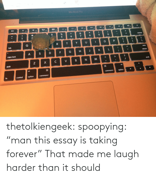 """Taking Forever: thetolkiengeek: spoopying:  """"man this essay is taking forever""""  That made me laugh harder than it should"""