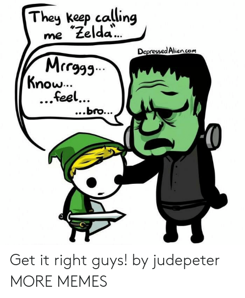 "Dank, Memes, and Target: Theu keep calling  me ""Zelda  MrrF  feel  Depressed Alien.com  now...  ...bro... Get it right guys! by judepeter MORE MEMES"